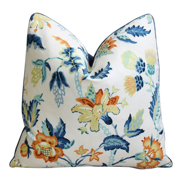 """Schumacher Scottish Thistle Floral Feather/Down Pillow 21"""" Square For Sale"""