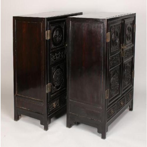 Antique Chinese Zitan Cabinets - A Pair - Image 10 of 11