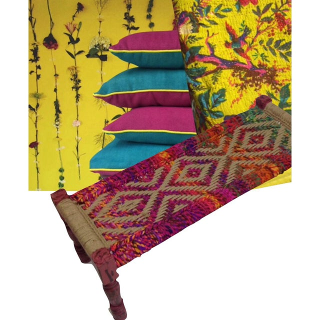 Coco Multicolored Woven Bench - Image 5 of 5