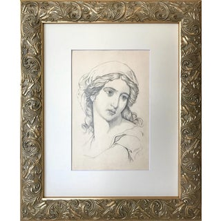 19th C. Antique Renaissance Style Portrait Drawing of a Woman For Sale