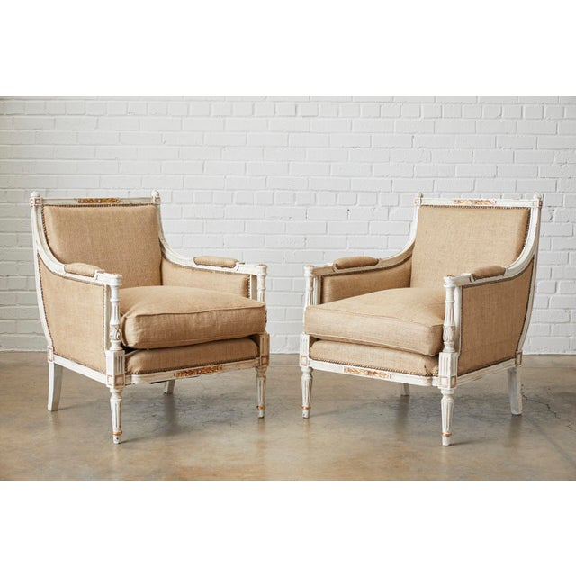 Pair of Louis XVI Swedish Gustavian Style Bergère Armchairs For Sale - Image 13 of 13