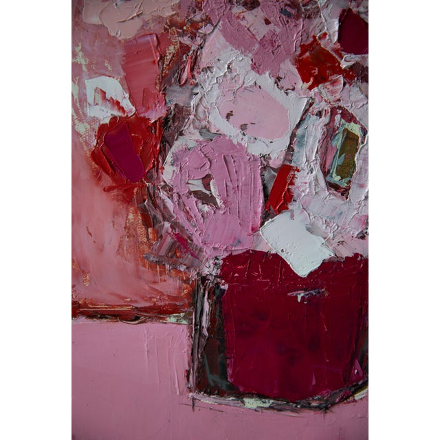 "Bill Tansey ""Hot Pink"" Abstract Floral Oil Painting on Canvas For Sale - Image 4 of 5"