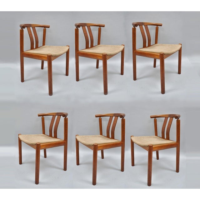 Uldum Danish Modern Teak Curved Back Rosewood Inlay Dining Chairs - Set of 6 For Sale - Image 12 of 12