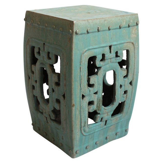 Turquoise Ceramic Garden Stool For Sale - Image 4 of 4
