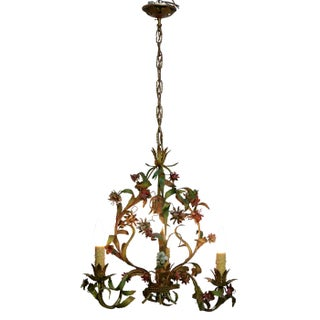 French Tole Painted Floral Chandelier Preview