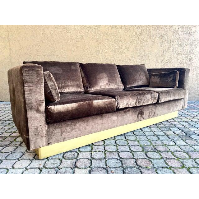 Textile Newly Reupholstered Velvet Tuxedo Sofa For Sale - Image 7 of 7