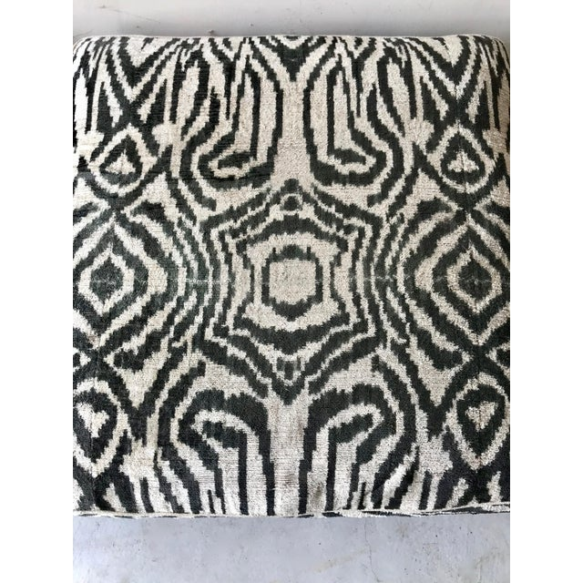 Asian Black Bamboo Stools With Zebra Print Poufs - a Pair For Sale - Image 3 of 7