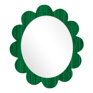 Fleur Home x Chairish Iris Oval Mirror in Malachite, 27x22 For Sale