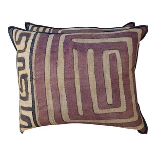 Pair of Large African Kuba Cloth Pillows with Black Backs