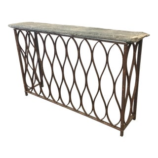 18th Century Italian Antique Iron & Stone Console Table Bar