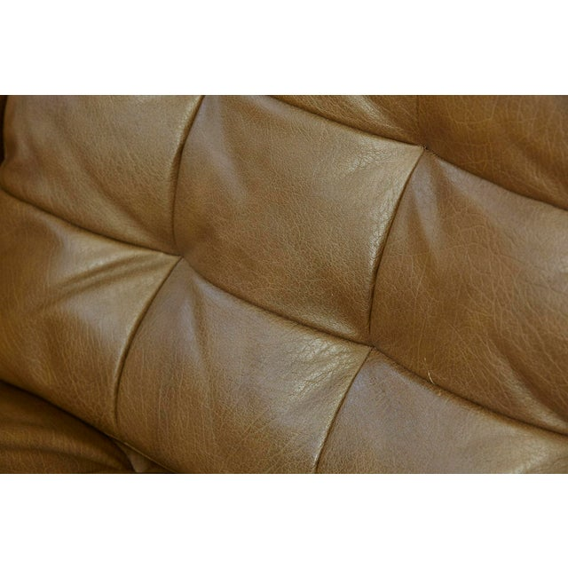 Metal Florence Knoll Tan Leather Button Tufted Lounge Chair, 1970s For Sale - Image 7 of 12