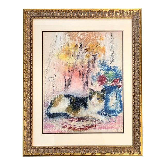 Vintage Original Impressionist Pastel of Cat Interior/Landscape