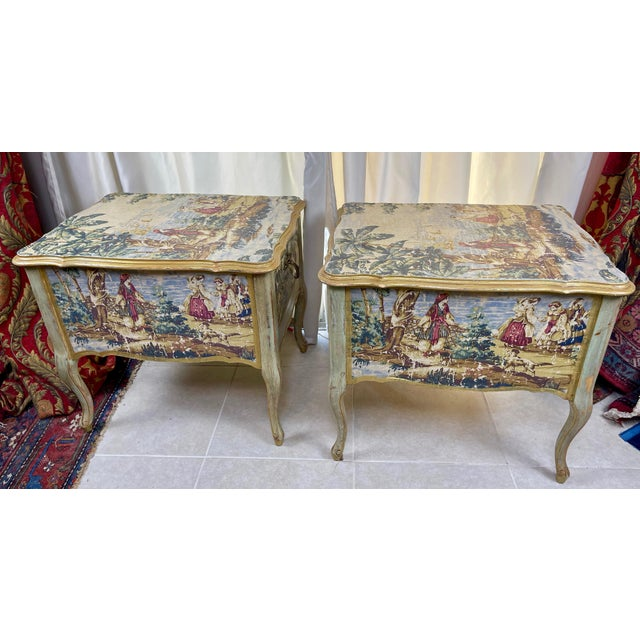 Hollywood Regency 1960s Night Stands Decoupaged With Idyllic Scene - a Pair For Sale - Image 3 of 11