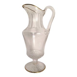 St Louis France Crystal Apollo Gold Rim Water Jug For Sale