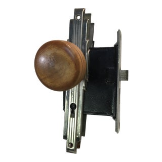 Antique Art Deco Mortise Lock Box With Door Knobs For Sale