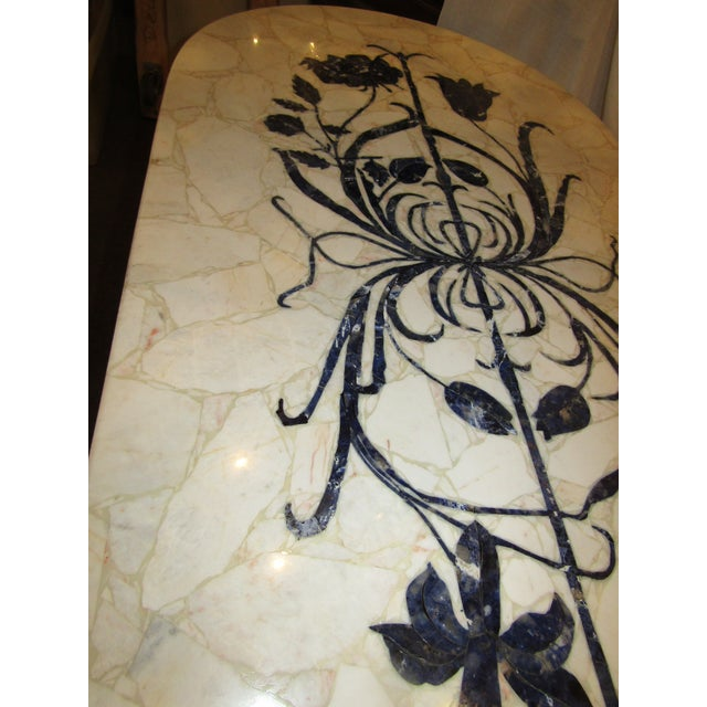 Marble Topped Wrought Iron Table - Image 6 of 6