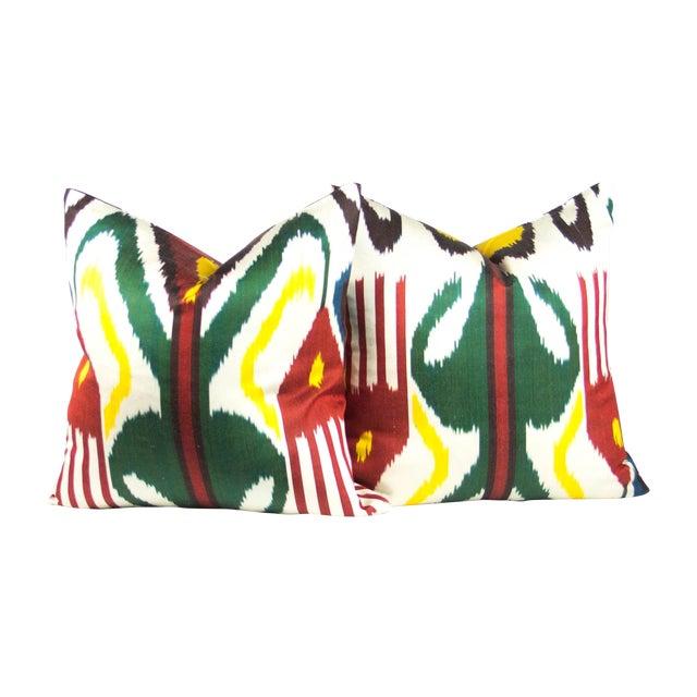 Multi-Colored Silk Ikat Pillows - Pair - Image 1 of 3