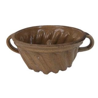 Antique French Kougelhopf Stoneware Jelly Jello Brioche Bundt Cake Mold Baking Pan For Sale