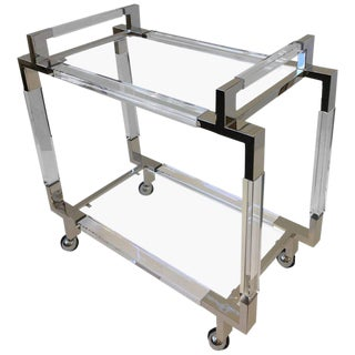 Polished Nickel and Acrylic Bar Cart by Charles Hollis Jones For Sale