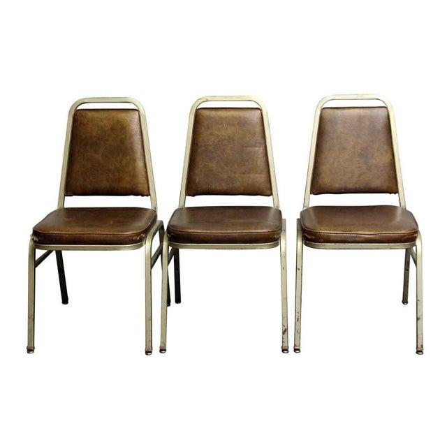 Salvaged Metal Vinyl Auditorium Office Chair - Image 2 of 10