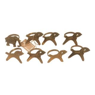 Vintage Brass Animal Napkin Rings - Set of 8