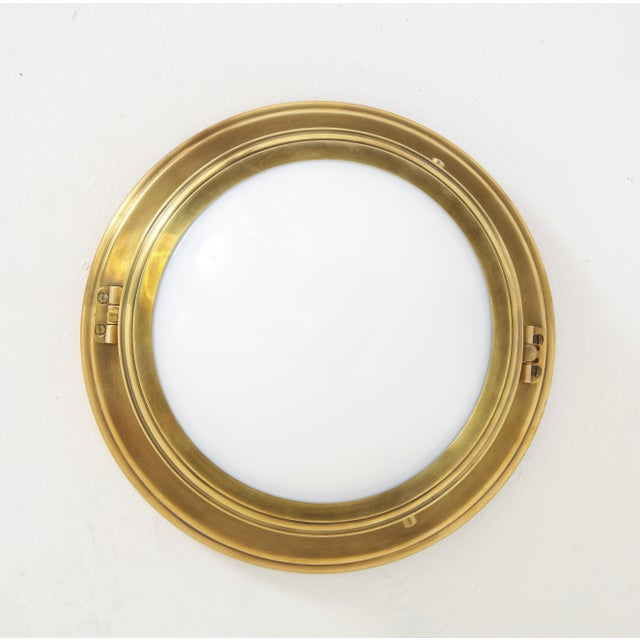 Ralph Lauren Marine Porthole Flushmount in Natural Brass, - Set of 7 For Sale In New York - Image 6 of 8