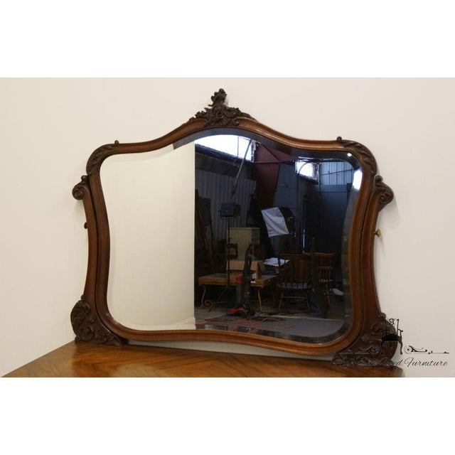 1920s Antique Louis XVI Bookmatched Mahogany Dresser with Mirror For Sale - Image 4 of 12
