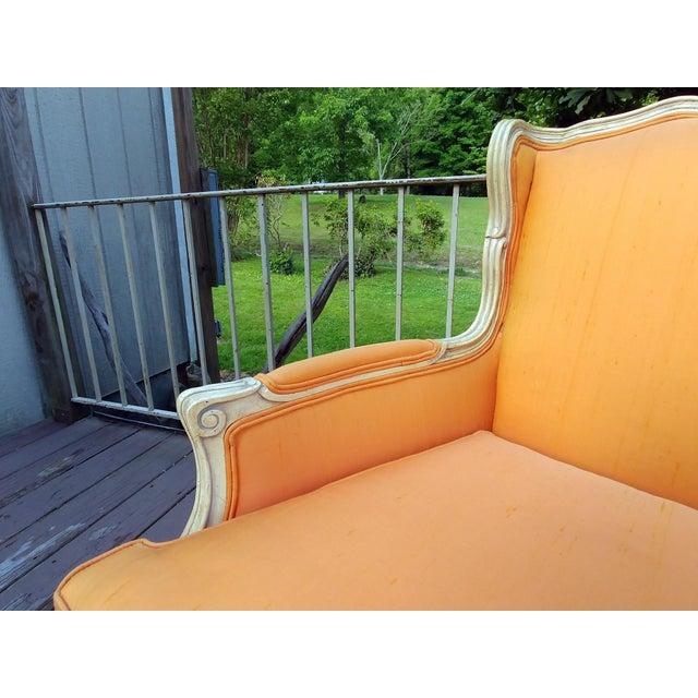 Henredon White Frame Orange Upholstery Louis XV Down Fill Bergere Chair For Sale - Image 9 of 13