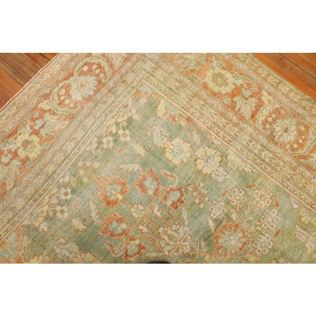 Pale Green Terracotta Antique Rug, 9'1'' X 12'7'' For Sale - Image 11 of 13