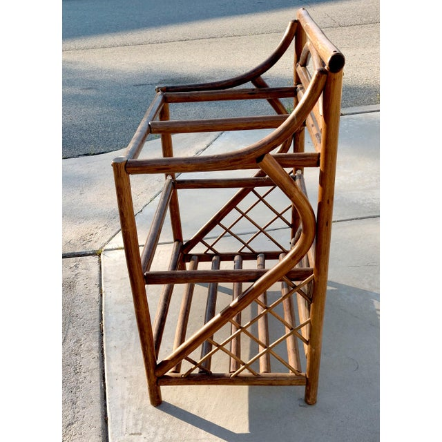 1970's Boho Chic 3 Tiered Counter Height Thick Rattan Etagere For Sale - Image 4 of 6