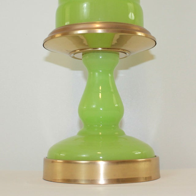 Cenedese Murano Green Opaline Glass Lamp - Image 4 of 9