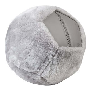 Shearling Ottoman in Grey Shearling by Moses Nadel For Sale