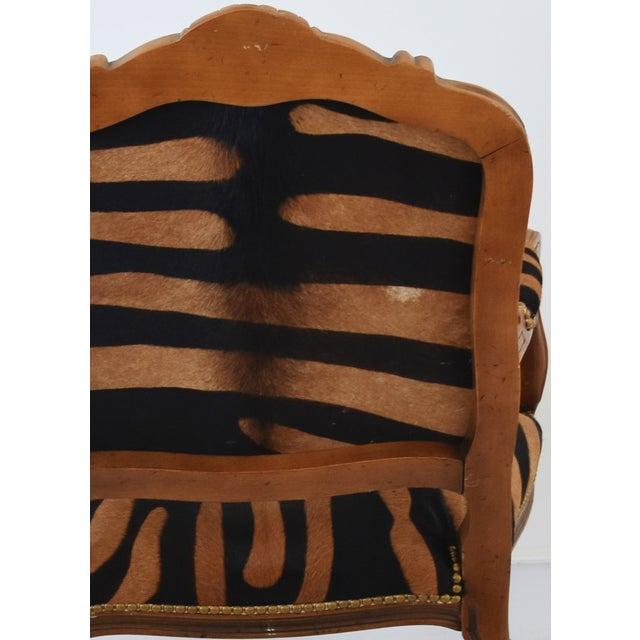 Gold 1950s Carved Hardwood & Tiger Cowhide Upholstered Armchair For Sale - Image 8 of 13