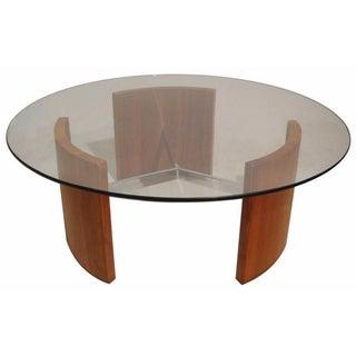 """Vladimir Kagan """"Radius"""" Walnut & Steel Table For Sale"""