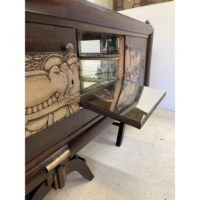 Brown French Art Deco Bar Cabinet With Mirrored Interior For Sale - Image 8 of 13