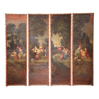 18th Century, French Hand-Painted Leather Four-Panel Screen From Lyon For Sale