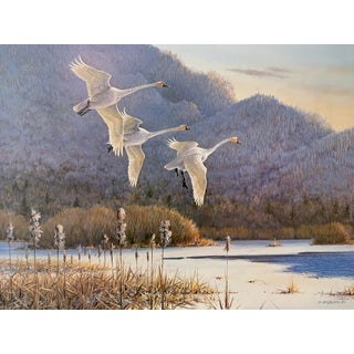 """Frosty Morning"" Vintage Swan Lodge Print by Owen Gromme For Sale"