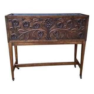Antique English Carved Oak Planter Jardeniere Plant Stand For Sale