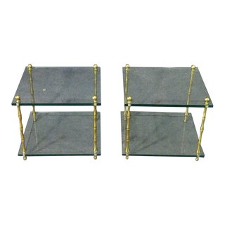 Faux Bamboo Brass Baguès Style Glass and Brass Square Low End Side Tables, Pair For Sale
