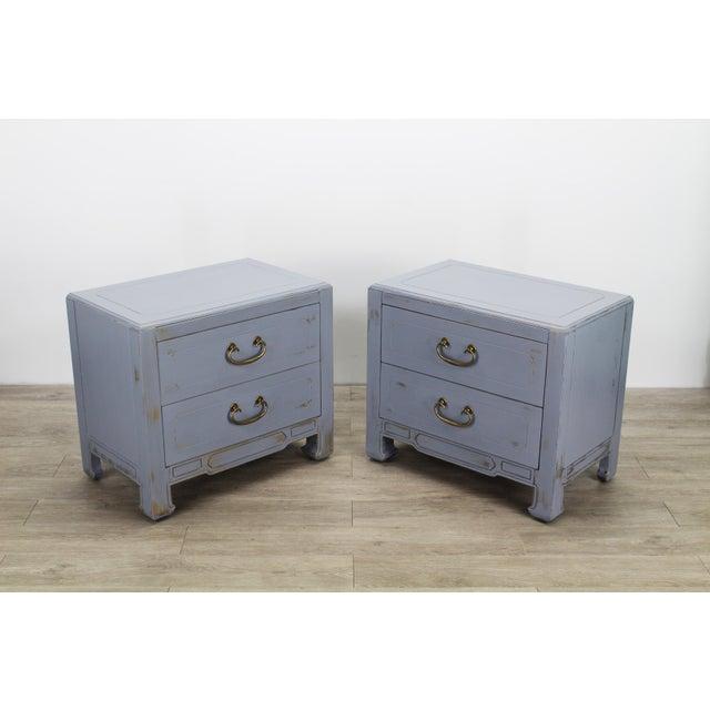 Mid-Century Modern Pair of Mid-Century Gray Nightstands, Hand Painted Nightstands, Pair of Gray Nightstands, 1970's Nightstands For Sale - Image 3 of 13