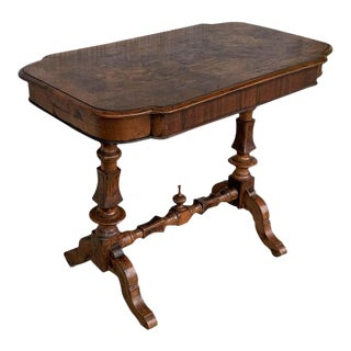 Spanish Light Oak Oval Coffee Table With Burl Top For Sale
