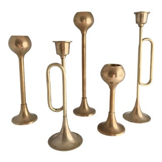 Vintage Mid Century Modern Brass Candle Stick Holders - Set of 5 For Sale