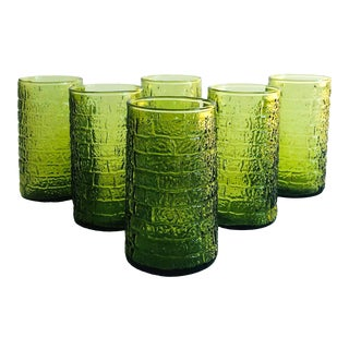 Mid Century Tapered Green Tumblers - Set of 6 For Sale