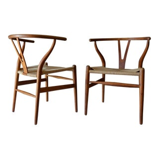 1960s Hans Wegner Ch 24 Oak Wishbone Chairs - a Pair