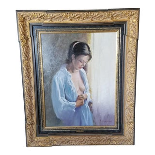 20th Century Female Partial Nude Portrait Oil Painting For Sale