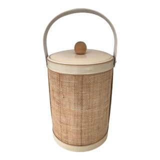 1970's Georges Briard Grasscloth Ice Bucket For Sale