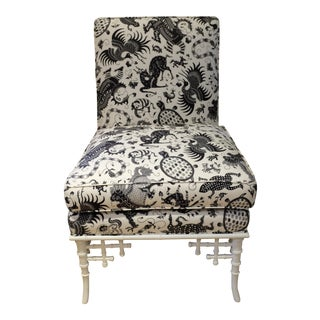 Hickory Chair Black & White Bamboo Side Chair in Quadrille Fabric For Sale