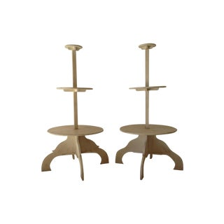 Hand Carved French Tiered Plant Stands - A Pair For Sale