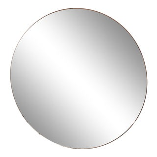 Mid Century Frameless Wall Mount Round Mirror With Metal Mirror Clips For Sale