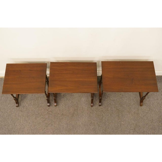 Wood Ethan Allen Georgian Court Nesting End / Accent Tables - Set of 3 For Sale - Image 7 of 13